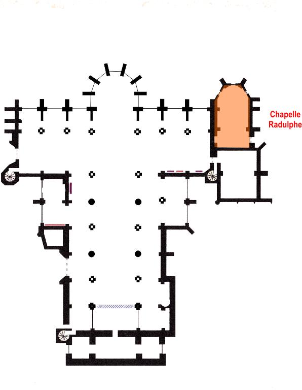 Localisation de la Chapelle Radulphe dans la basilique (© CS Editions)