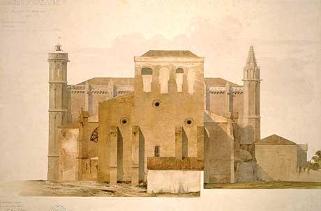 Aquarelle de l'église par Viollet-le-Duc (BNF)