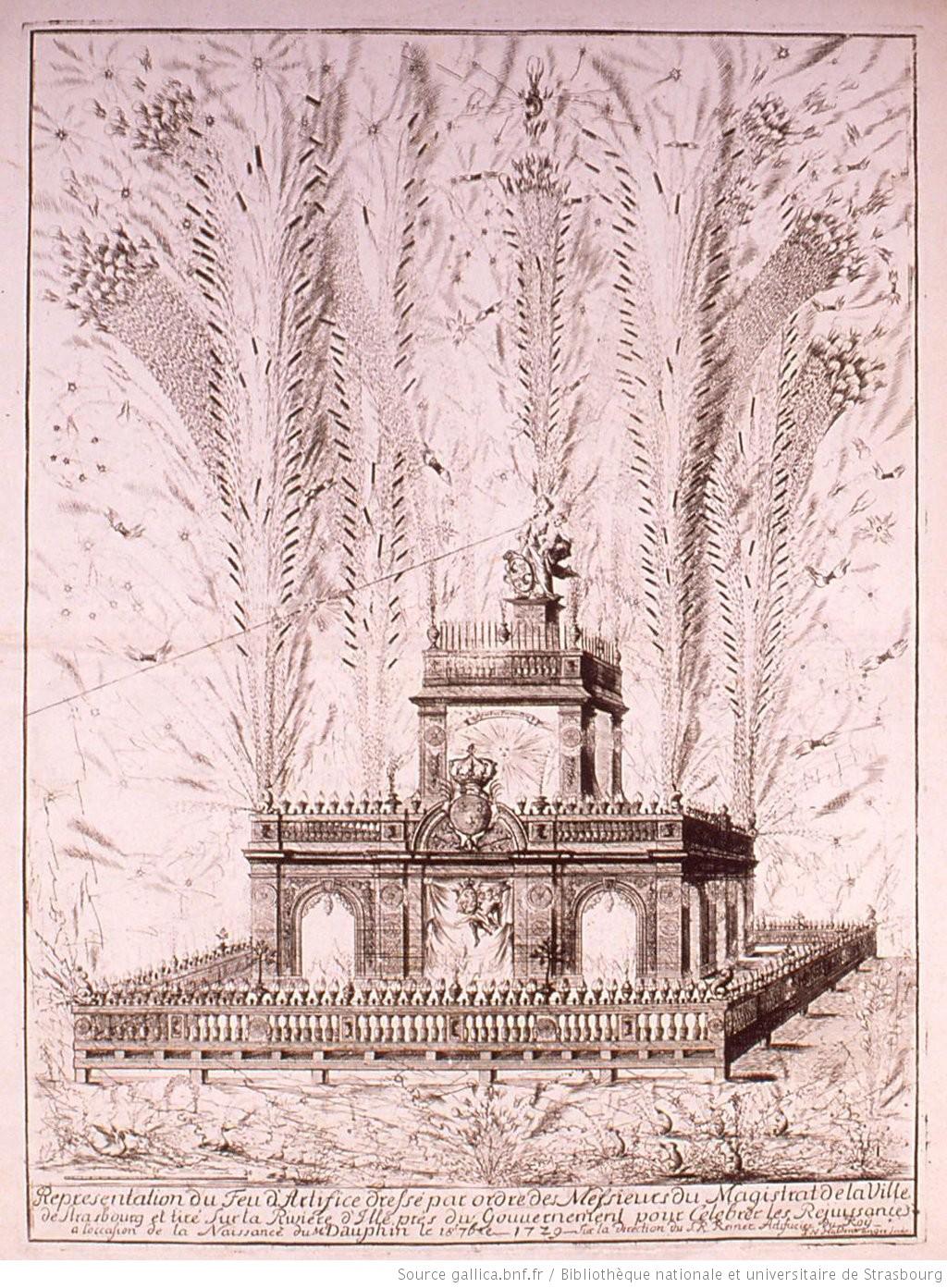 feux d'artifice tirés à Strasbourg pour la naissance du Dauphin (BNF)
