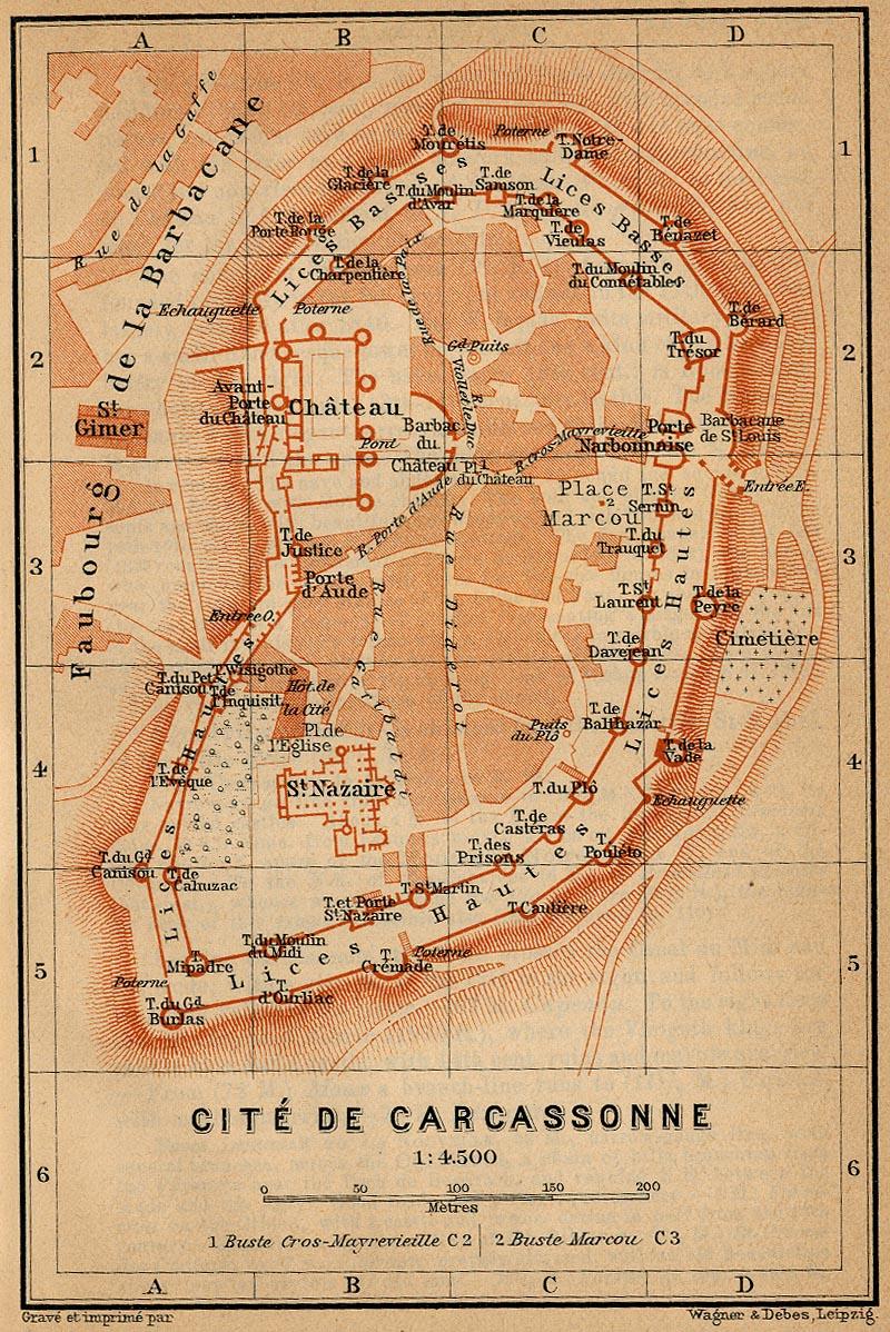 carte Baedeker de la Cité en 1914