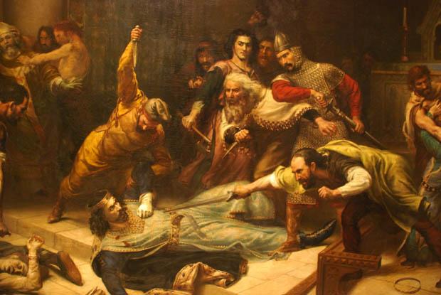 L'assassinat de Raimon Ier , peinture de Noël Sylvestre (1847-1915), Eglise de la Madeleine, Béziers