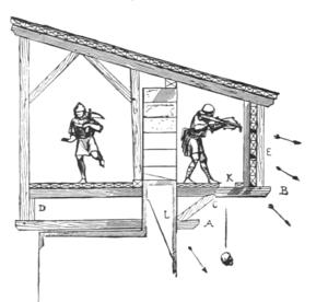 Esquisse de Viollet-le-Duc expliquant l'utilisation des hourds