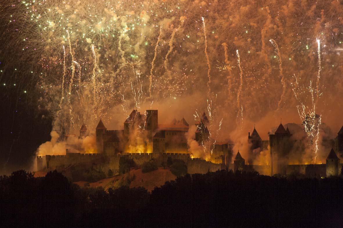 Les feux d'artifice du 14 Juillet à Carcassonne