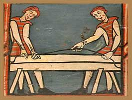Charpentiers (détail du plafond peint de la cathédrale de Téruel, XIVe)