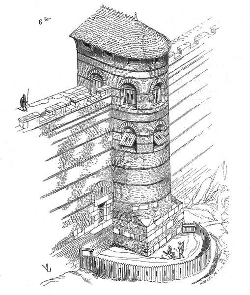 Tour de la Charpenterie (dessin de Viollet-le-Duc, ©BNF)