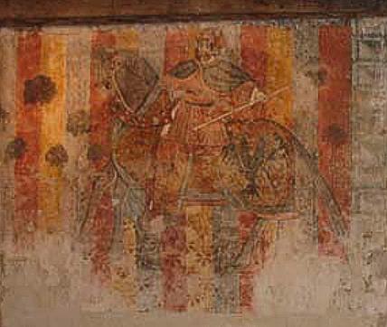 Détail de la fresque du château de Bioule (Tarn & Garonne)